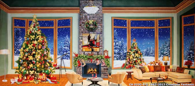 Backdrop CH 033C-S Christmas Living Room 1C