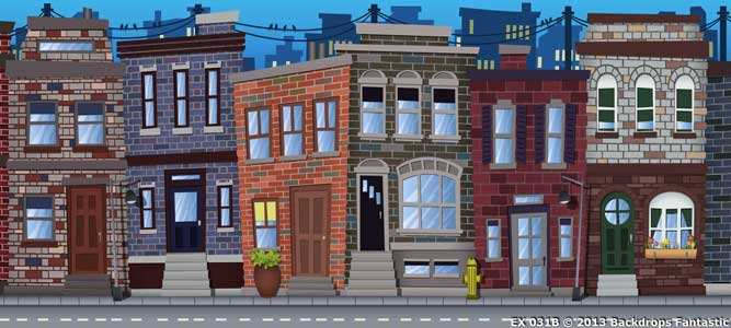 Backdrop EX 031 Hairspray Baltimore Street Stylized B