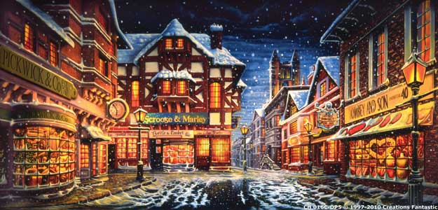 Backdrop CH016C-DP5 Dickens Christmas Street 2C