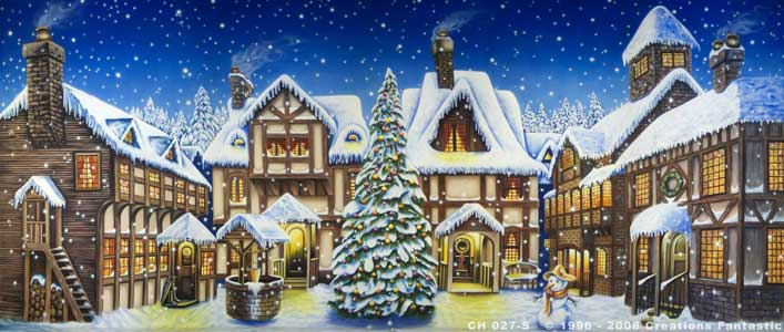 Backdrop CH027-S Christmas Town Square 1