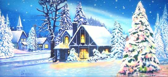 Backdrop CH007 Christmas Village 3